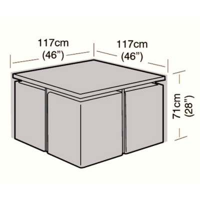 Deluxe - 4 Seater Rattan Cube Set Cover - Small - 117cm