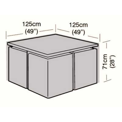 Deluxe - 4 Seater Rattan Cube Set Cover - Medium - 125cm