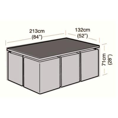 Deluxe - 6 Seater Rectangular Rattan Cube Set Cover - 213cm